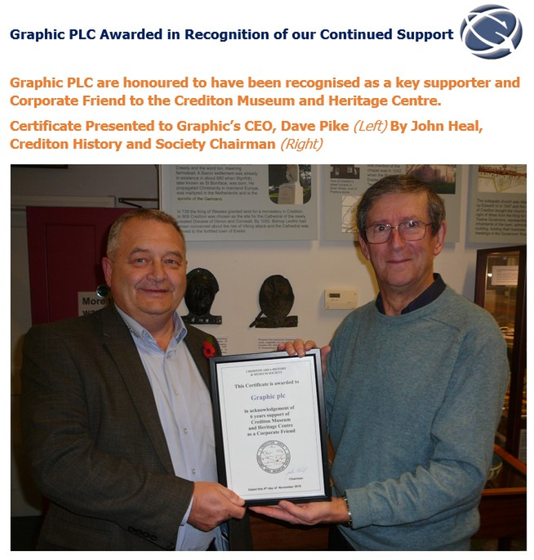 Graphic PLC Awarded in Recognition of our Continued Support
